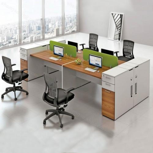 简约四人位开放式办公区员工桌电脑桌02