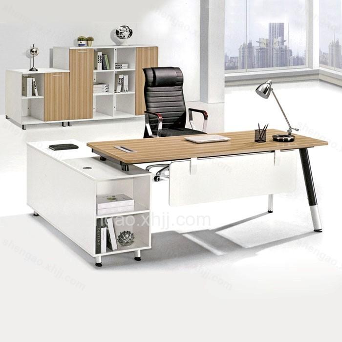 简约现代钢木带柜主管桌经理桌02