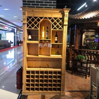 红酒柜展示架实木酒阁松木柜子防腐木碳化木