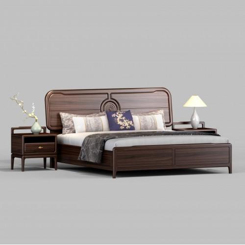 简约纯实木双人床单抽床头柜 新中式实木双人床_1802床