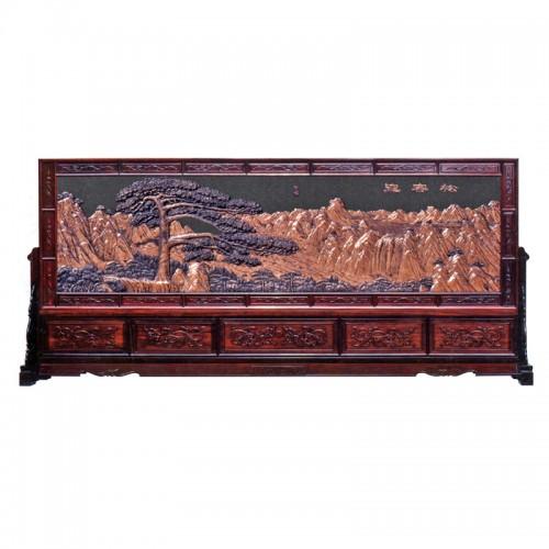 紫铜浮雕铜板座屏30