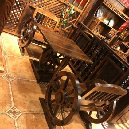 碳化木桌椅户外单人车