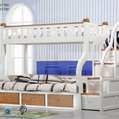 儿童实木弯腿步梯高箱子母床套房    1350-WTBT
