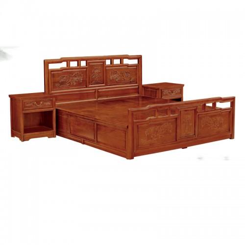 中式榆木雕花双人床效果图04