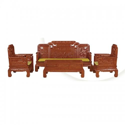中式榆木仿古雕花沙发组合效果图06