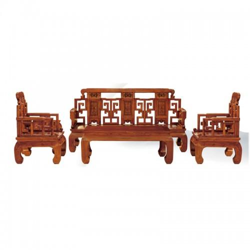 仿古中式榆木雕花沙发组合效果图07