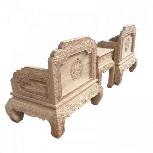 白茬榆木客厅雕花弯腿沙发组合08