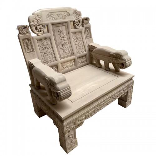 白茬榆木象头雕花沙发组合11