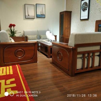 香河胡桃木实木沙发1+2+3沙发