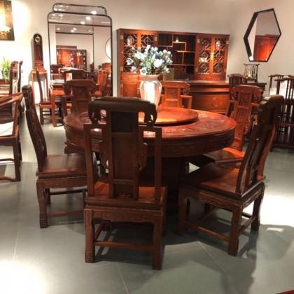 缅花餐厅实木圆桌椅组合