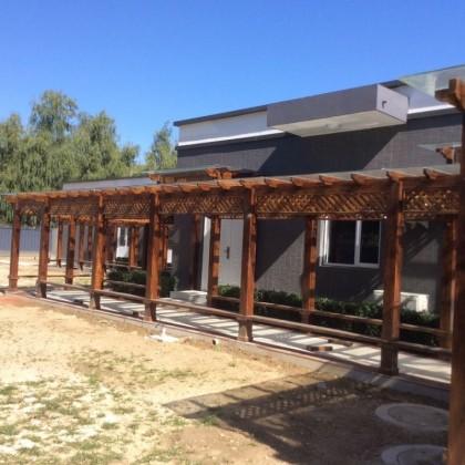 连廊定制户外防腐木长廊室外花架碳化木厂家直销