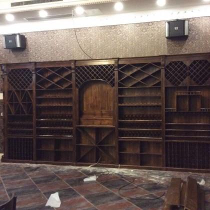 红酒柜定制碳化木柜子饭店吧台组合工厂直营白酒红酒酒窖酒吧个性
