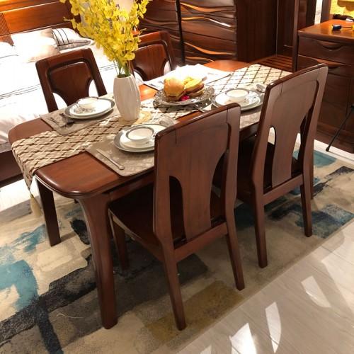 餐厅胡桃木长方形餐桌椅组合01
