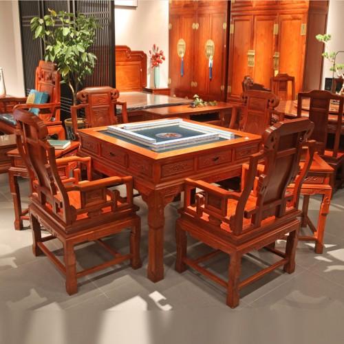 缅甸花梨红木实木麻将桌棋牌桌01