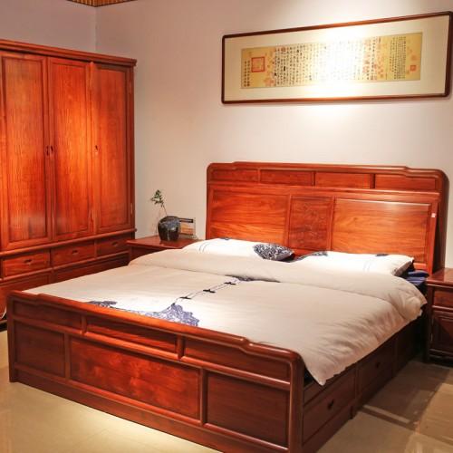 现代中式双人床卧室家具01