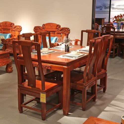 仿古餐桌实木餐桌带椅餐桌01