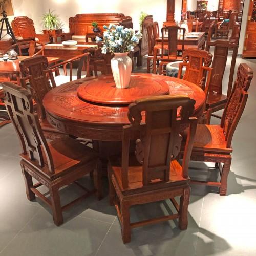 实木客厅圆形红木餐桌椅06