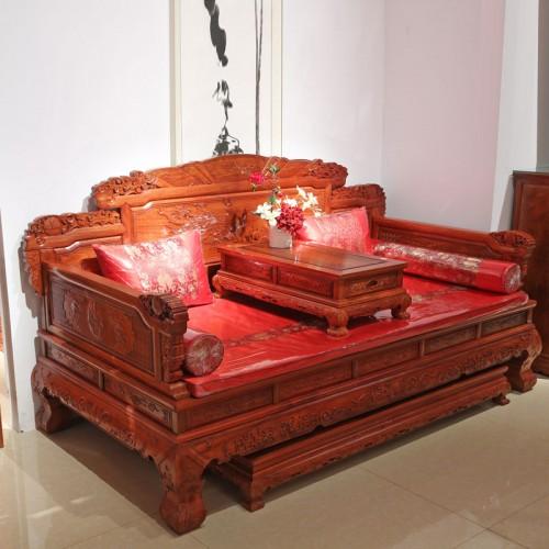 仿古贵妃床实木沙发床07