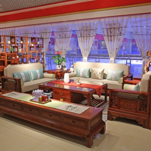 仿古新中式客厅实木沙发01