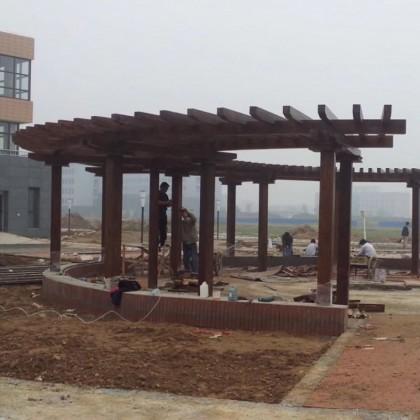 香河弧形长廊户外防腐木碳化木廊架庭院景观实木亭子