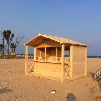 户外碳化木售货亭防腐木亭子厂家直销移动小房子简易旅游景点用的