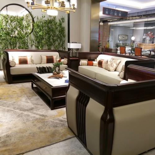 新中式乌金木客厅沙发1+2+3 电视柜组合纯实木软皮沙发1+2+3_1801沙发