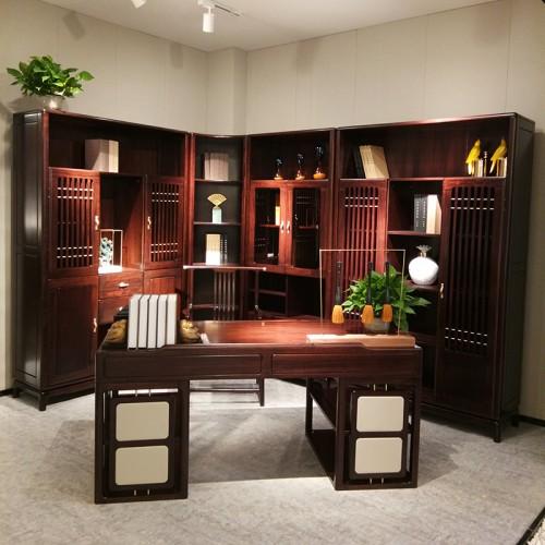 新中式纯实木书桌转角书架 书桌书椅 乌金木书桌转角书架_1801书桌