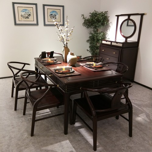 新中式纯实木餐桌一桌四椅 乌金木餐桌餐椅_1803餐桌