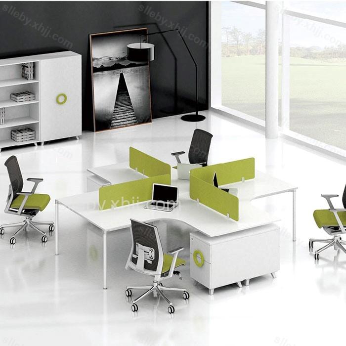 弧形办公桌屏风隔断电脑桌21