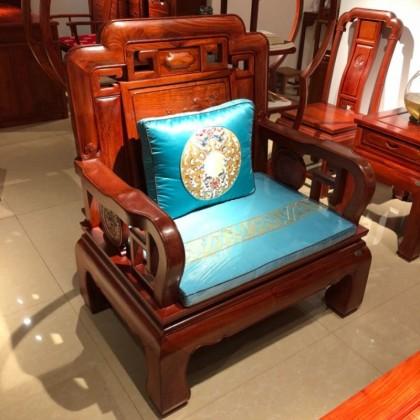缅甸花梨国色天香七件套红木沙发