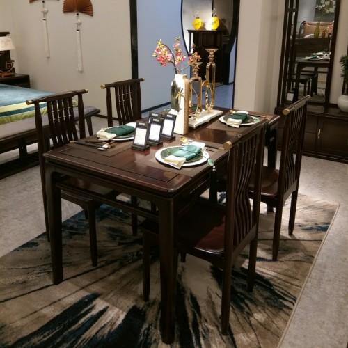 简约中式乌金木餐桌餐椅_1805餐桌 宜美居家具