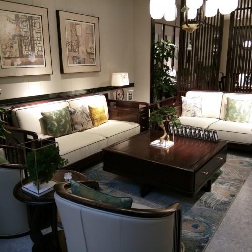 简约新中式三人沙发休闲椅茶几 休闲几 乌金木软皮三人沙发休闲椅_1802沙发