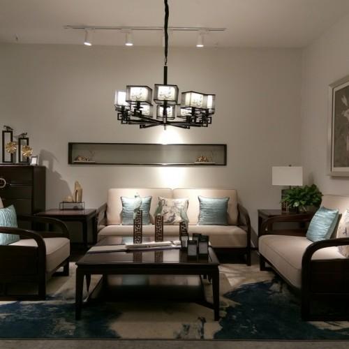 简约乌金木布艺沙发组合1+2+3茶几 新中式实木布艺沙发组合1+2+3_1805双人沙发