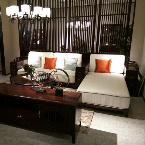 新中式乌金木布艺转角沙发 简约实木布艺转角沙发_1806沙发