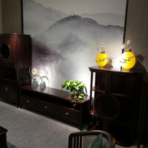 新中式纯实木地柜组合高中低电视柜_1802中柜