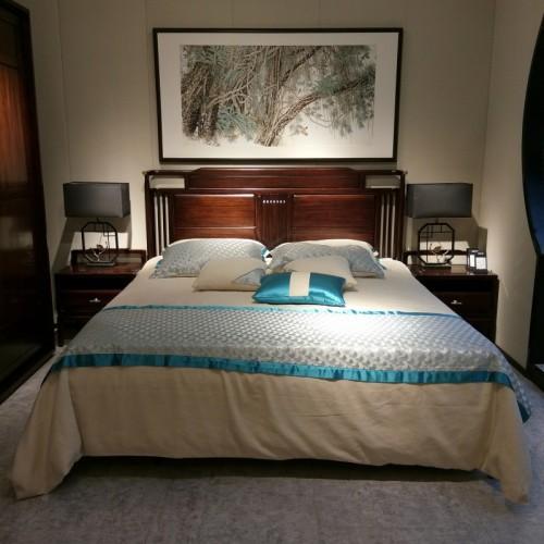 简约纯实木双人床低箱床梳妆台妆凳 乌金木低箱双人床移门衣柜_1803低箱床