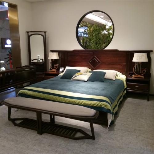 新中式乌金木双人床 简约实木双人床_1801双人床 床头柜
