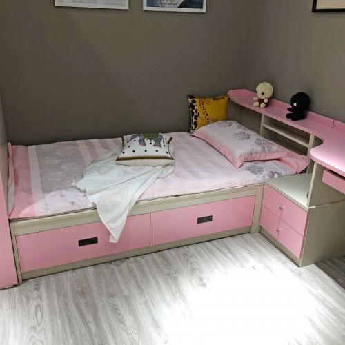 儿童粉色女孩单人床公主床01