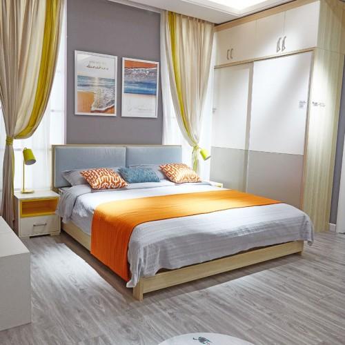 时尚现代卧室双人床套房家具06