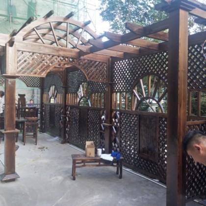 定制长廊户外防腐木廊架弧形碳化木庭院设计景观
