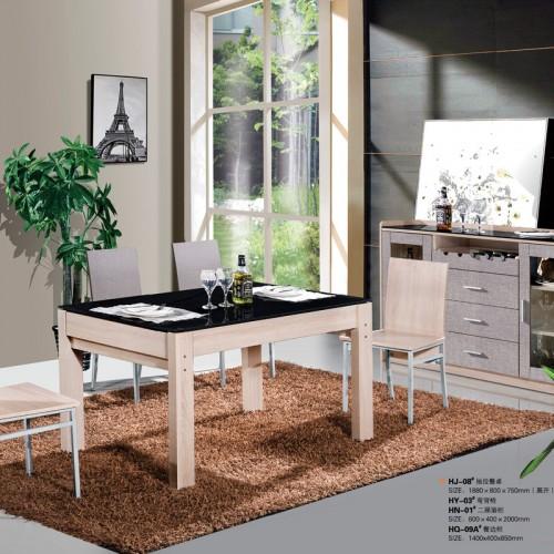 木纹雕套灰布纹抽拉餐桌椅组合家具HJ-08