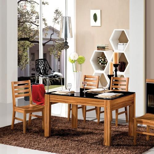 黄金柚套水洗白抽拉餐桌椅组合家具HJ-08