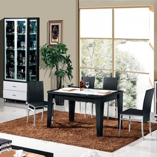 黑橡套白浮雕斜坡面餐桌椅组合家具HJ-10