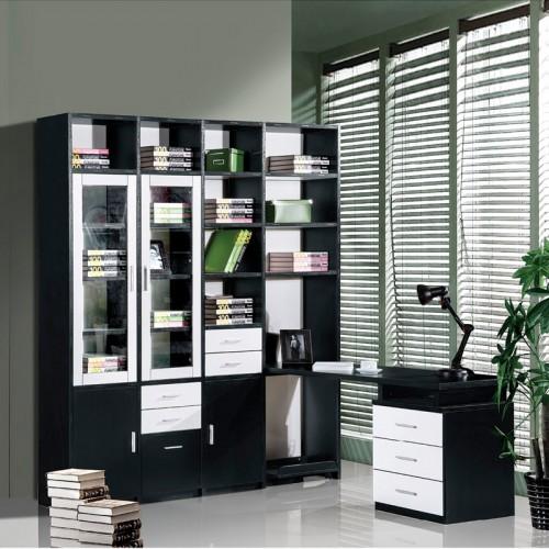 黑橡套白浮雕连体书柜带电脑桌HD-28