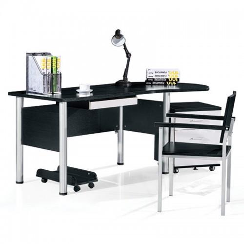 黑橡套白浮雕圆头电脑桌扶手椅HF-01