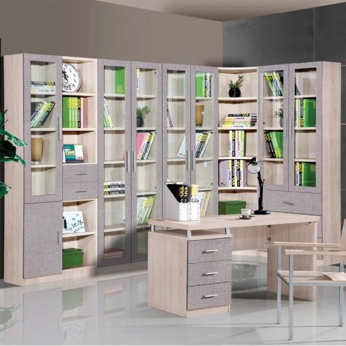 木纹雕套灰布纹书桌书柜HF-111