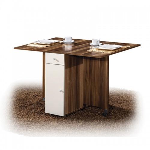 荔木套荷花白折叠餐桌HJ-04
