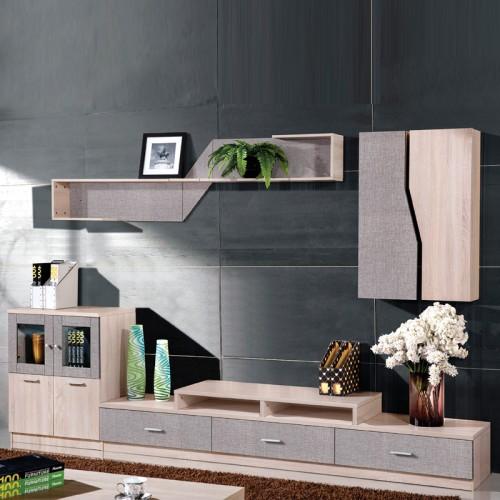 木纹雕套灰布纹客厅组合柜电视架HG-28