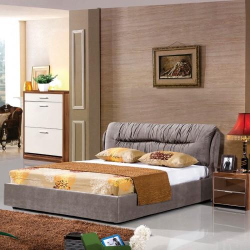 荔木套荷花白卧室双人床套房家具HX-1007A