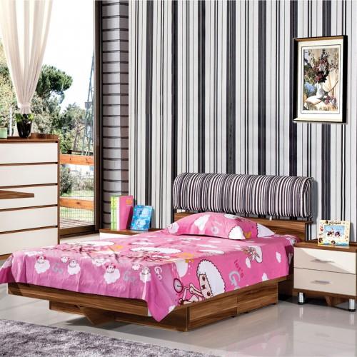 荔木套荷花白儿童床套房家具HXT-03C2